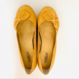 Seychelles Mustard Bow Wedge Shoes